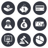 Money, cash and finance icons. Piggy bank sign. Money, cash and finance icons. Piggy bank, credit card and auction signs. Presentation, pie chart and businessman Stock Image