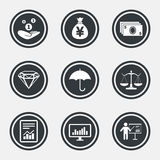 Money, cash and finance icons. Savings sign. Money, cash and finance icons. Money savings, justice scales and report signs. Presentation, analysis and umbrella Royalty Free Stock Photos
