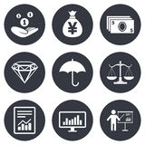Money, cash and finance icons. Savings sign. Money, cash and finance icons. Money savings, justice scales and report signs. Presentation, analysis and umbrella Stock Photo