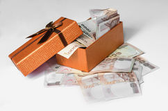 Money cash and gift box isolate on white. Background Stock Images