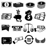 Money cash icons set. Money cash  icons set in black Royalty Free Stock Photography