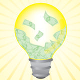 Money cash in idea bulb Stock Photos