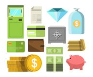 Money in cash and other precious savers poster on white Royalty Free Stock Photography