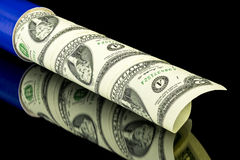 Money cash in a tube ready for shipping Stock Photography