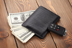 Money cash wallet and car remote key Royalty Free Stock Photo