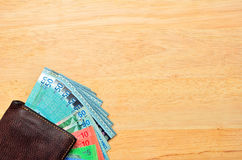 Money cash wallet on wooden table Stock Image