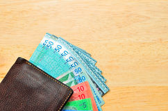 Money cash wallet on wooden table Royalty Free Stock Photo
