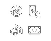 Money, Cashback and ATM line icons. Royalty Free Stock Photos