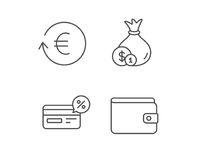 Money, Cashback and Wallet line icons. Coins. Stock Photos