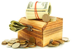Money in the casket. On white background Stock Image