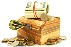 Money in the casket stock image