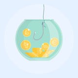 Money catching with fishing hook, rod. Catching money with fishing hook in aquarium. Dollar and euro coins. Vector illustration. Flat cartoon style Royalty Free Stock Images