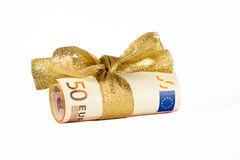 Money. Celebrations paper gift currency business concepts ribbon money Royalty Free Stock Photography