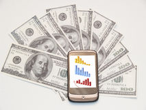 Money and cellphone Royalty Free Stock Photography