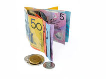 Money chage. Australian money and coins royalty free stock images
