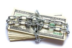 Money in chain Stock Photography