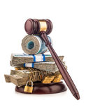 Money chain  and judge gavel isolated on white Stock Image