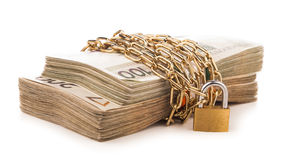 Money chain  and lock isolated on white Royalty Free Stock Images