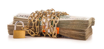 Money chain  and lock isolated on white Royalty Free Stock Photo