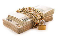 Money chain  and lock isolated on white Stock Photos