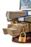 Money chain  and lock isolated on white Stock Images