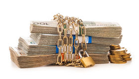 Money chain and lock isolated on white Royalty Free Stock Photos