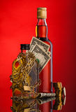 Money Chain and whisky bottles Royalty Free Stock Photo