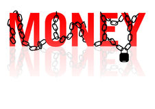 Money in chains. Money under chains and locked royalty free illustration