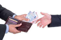 Money changing hands Stock Photo