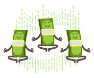 Free Money Characters Meditating. Digital Transaction, Non-cash Payments Royalty Free Stock Images - 171308369
