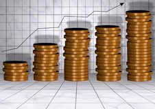 Money chart. An illustration of coins forming upward chart Stock Photography