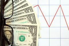 Money And Chart Royalty Free Stock Photos