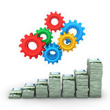 Money Chart Gears Stock Image