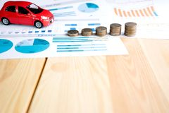 Money, chart and Red Car Royalty Free Stock Photo
