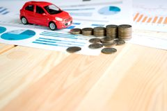 Money, chart and Red Car Stock Image