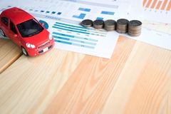 Money, chart and Red Car Royalty Free Stock Photography