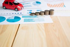Money, chart and Red Car Stock Photos