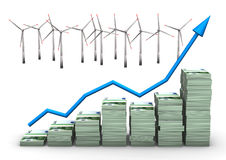 Money Chart Wind Turbines Stock Images