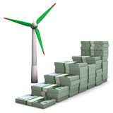 Money Chart Wind Turbines Royalty Free Stock Images