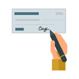 Money check vector illustration. Retro check gift certificate white background. Good money design accounting debt. Customizable people hand with pen. Financial Stock Photos