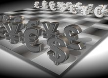 Money chess. Symbols of four major currencies positioned on a chess board Stock Images