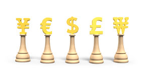 Money chess with golden currency symbol, 3D illustration. Royalty Free Stock Photo