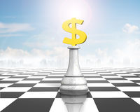 Money chess of golden dollar currency on chessboard Stock Photography