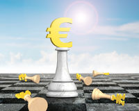 Money chess with golden euro currency king. On chessboard, with sunny clouds sky, 3D illustration Royalty Free Stock Image