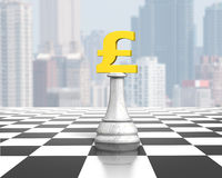 Money chess of golden pound currency on chessboard Stock Photo