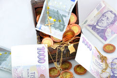 Money in a chest Stock Photography