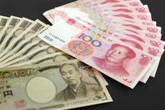 Money. Chinese and Japanese currency pair used in forex trading Stock Photos