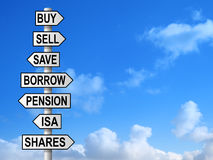 Money Choices Signpost Royalty Free Stock Image
