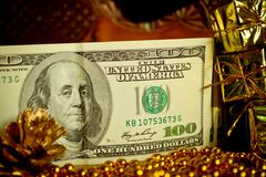 Money Christmas gift Stock Image