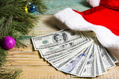 Money for Christmas presents. Stock Photo